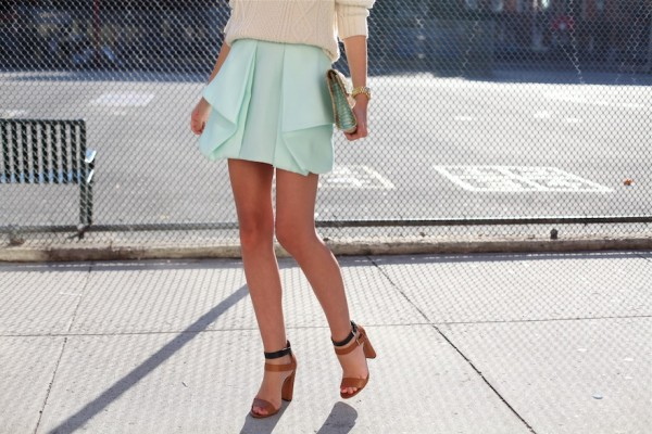 Tibi mint skirt, New York street style