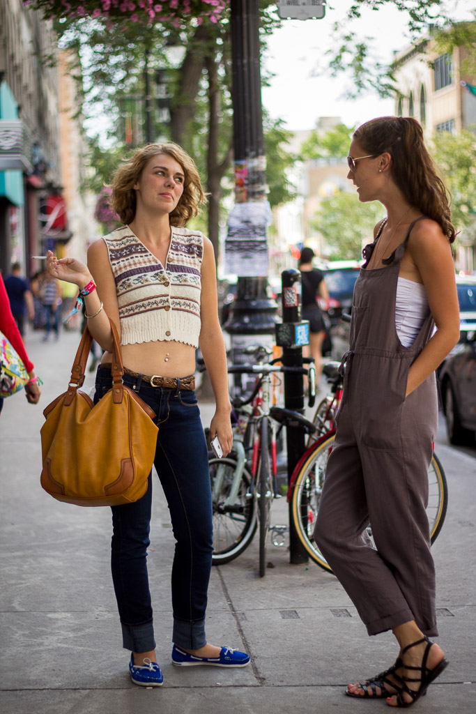 Overalls and crop top, Montreal street style