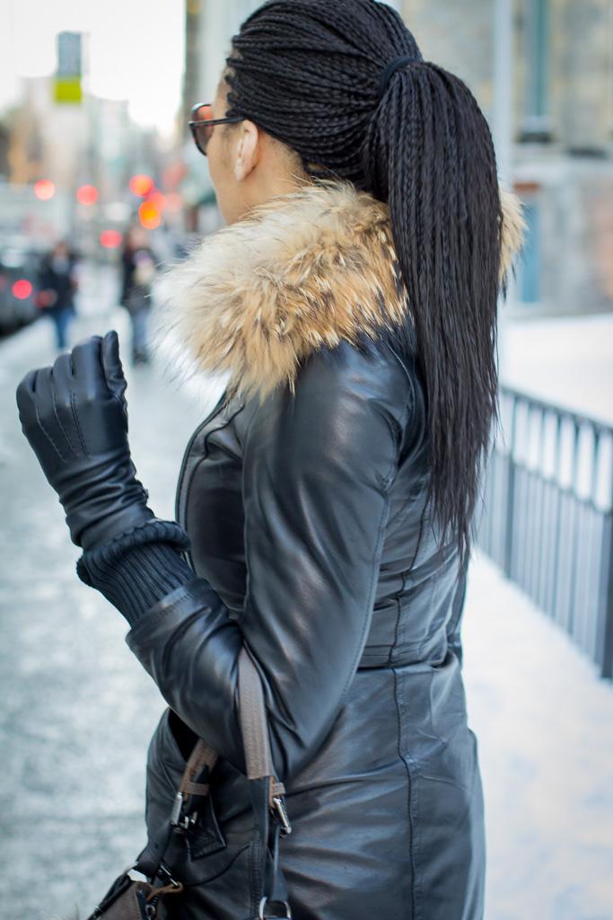 Montreal singer/songwriter, Shahara wearing Rudsak