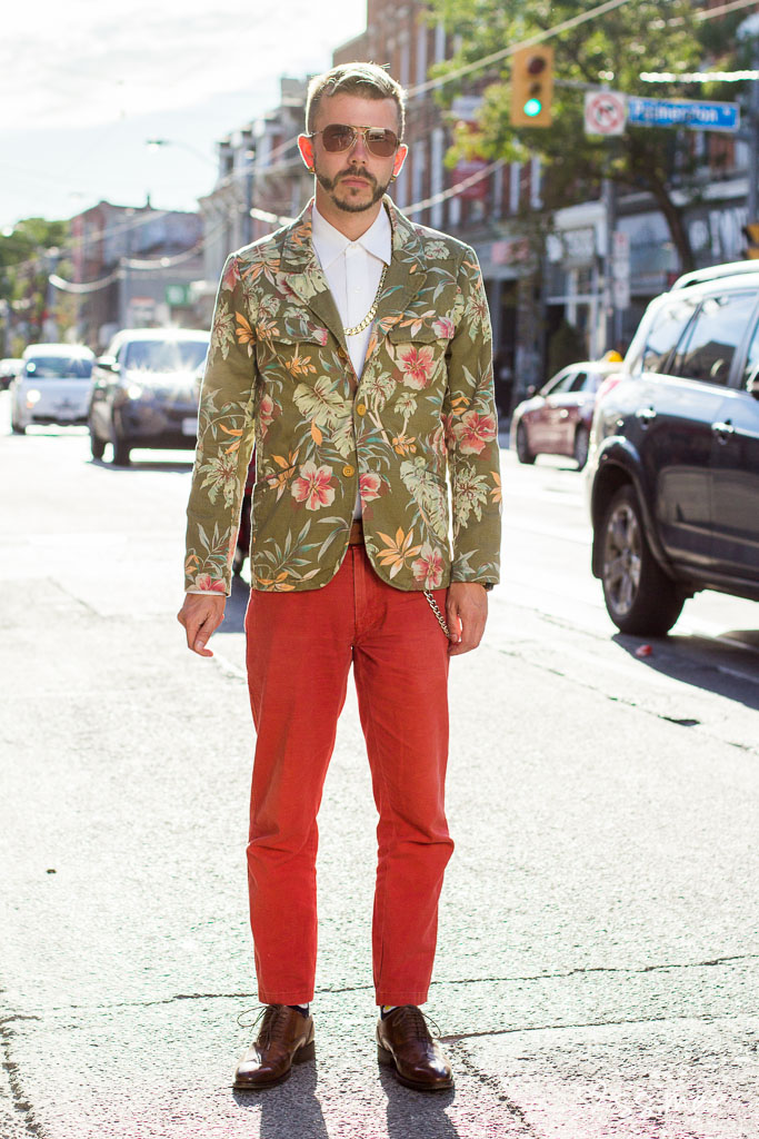 Toronto street style: guy wearing printed suit on the streets