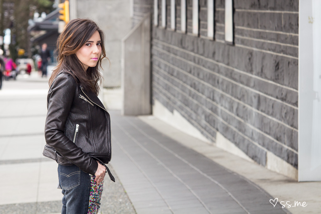 Fashion blogger in Vancouver wearing leather jacket